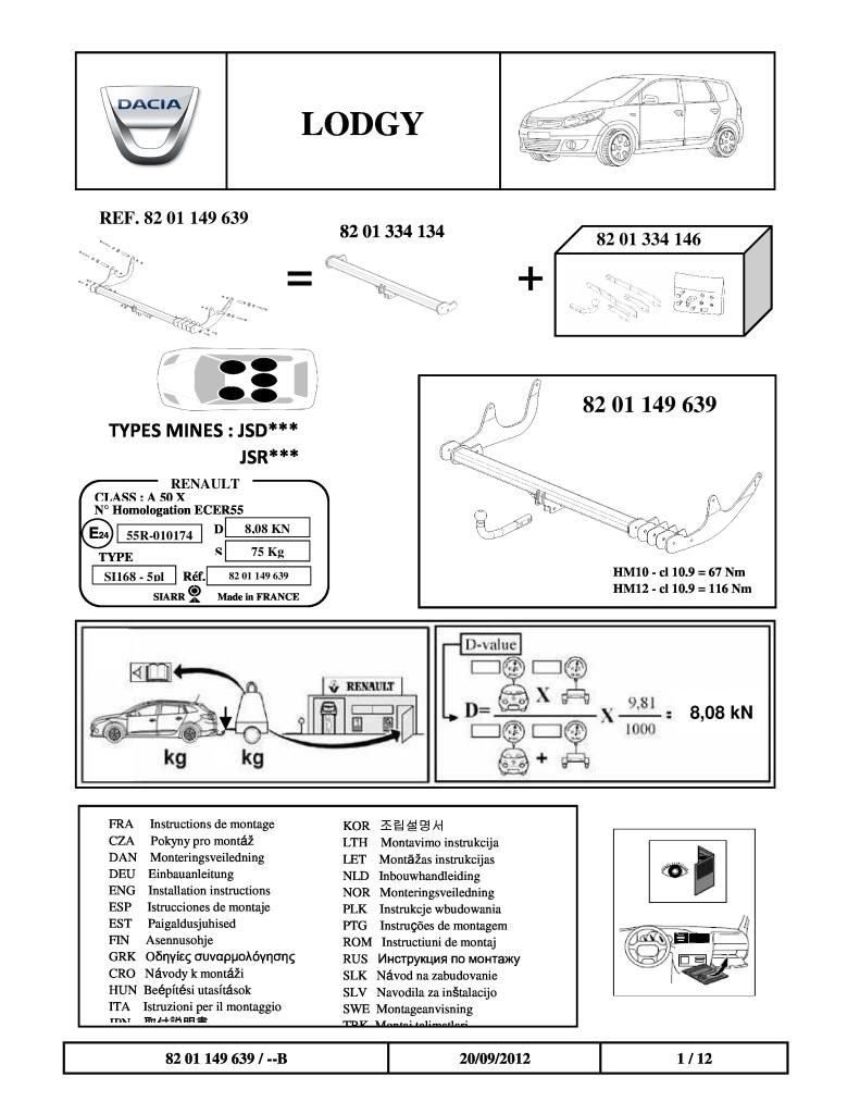 2012 Lodgy Fitting Instructions Tow Bar Pdf  1 2 Mb
